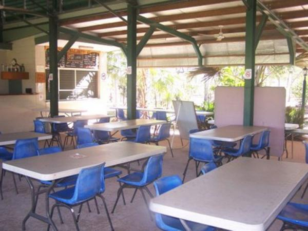 Seating in covered outdoor area at livingstone recreation reserve